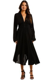 KITX Shirt Dress Black Midi Open Back