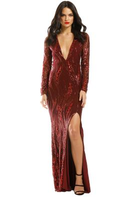 L'amour-Deep-V-Plunge-Dress-Wine-Front
