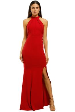 L'amour-High-Neck-Scuba-Crepe-Cherry-Front