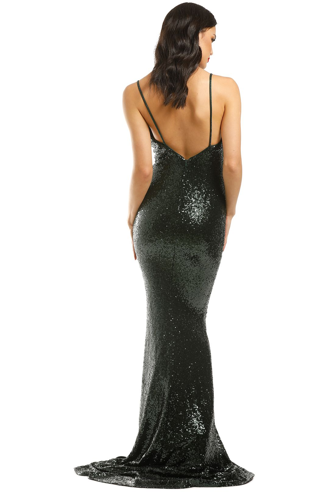 L'amour-Sequin-Plunge-Emerald-Green-Back