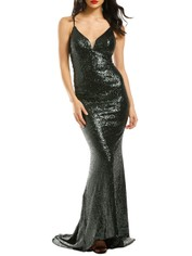 L'amour-Sequin-Plunge-Emerald-Green-Front