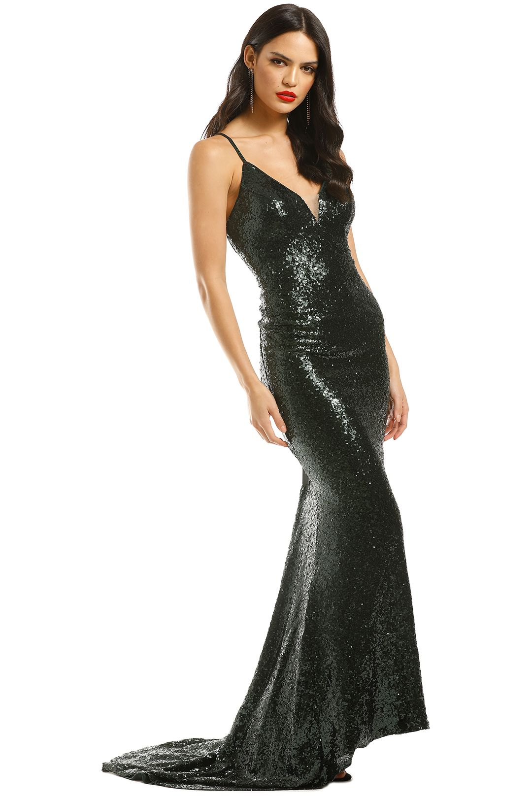 L'amour-Sequin-Plunge-Emerald-Green-Side