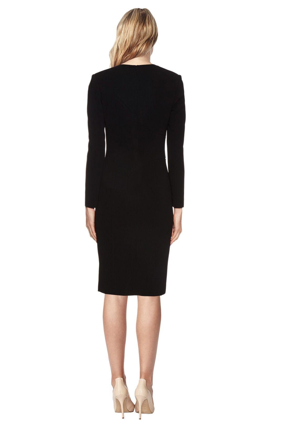 La Mania - Antares Long Sleeved Crepe Dress - Black - Back
