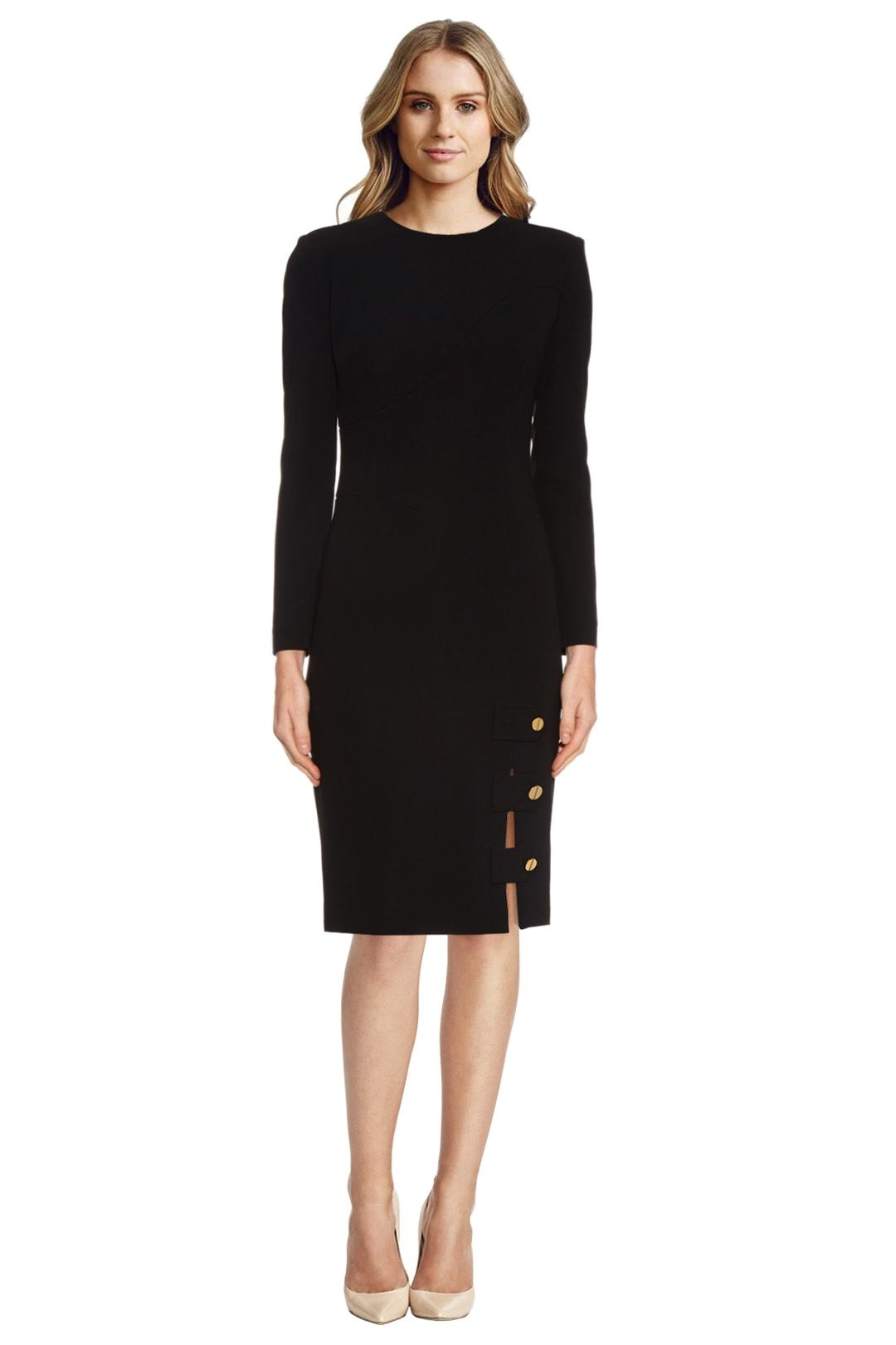 La Mania - Antares Long Sleeved Crepe Dress - Black - Front