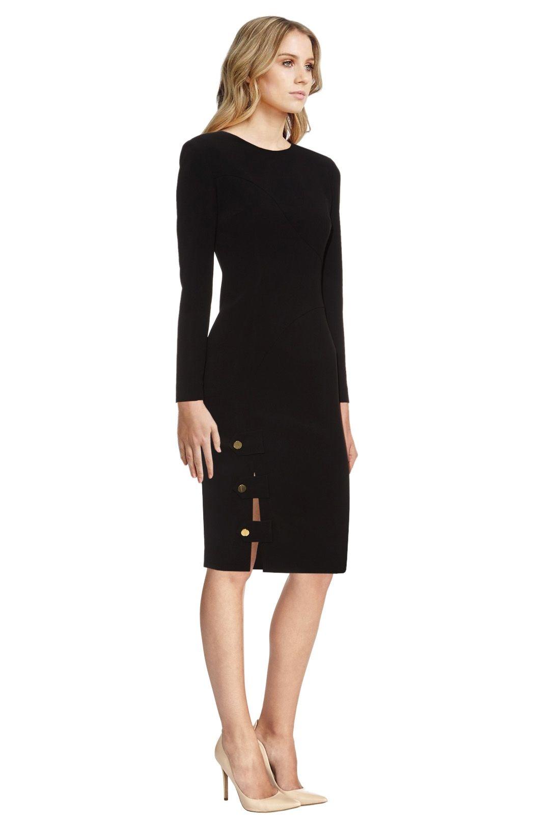 La Mania - Antares Long Sleeved Crepe Dress - Black - Side