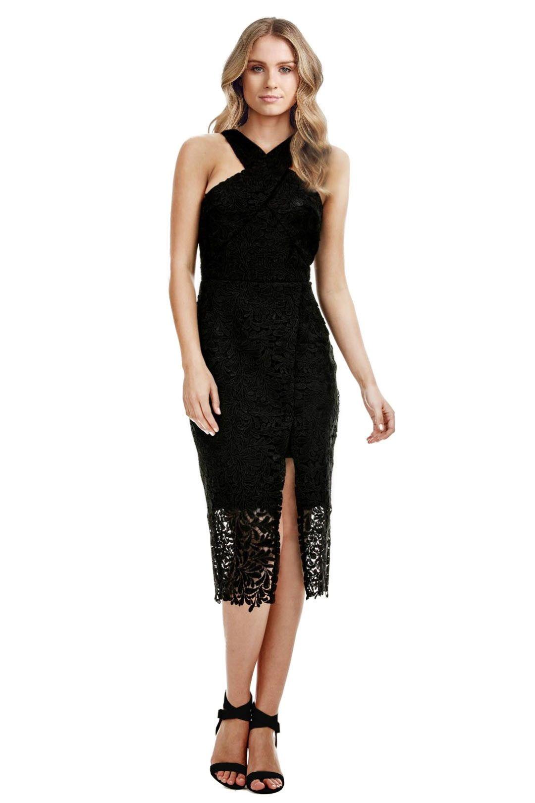 Langhem - Danielle Black Lace Cocktail Dress - Black - Front