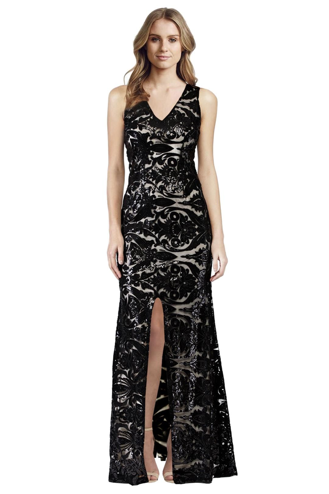 Langhem - Ellie Black and Nude Sequin Evening Dress - Black - Front