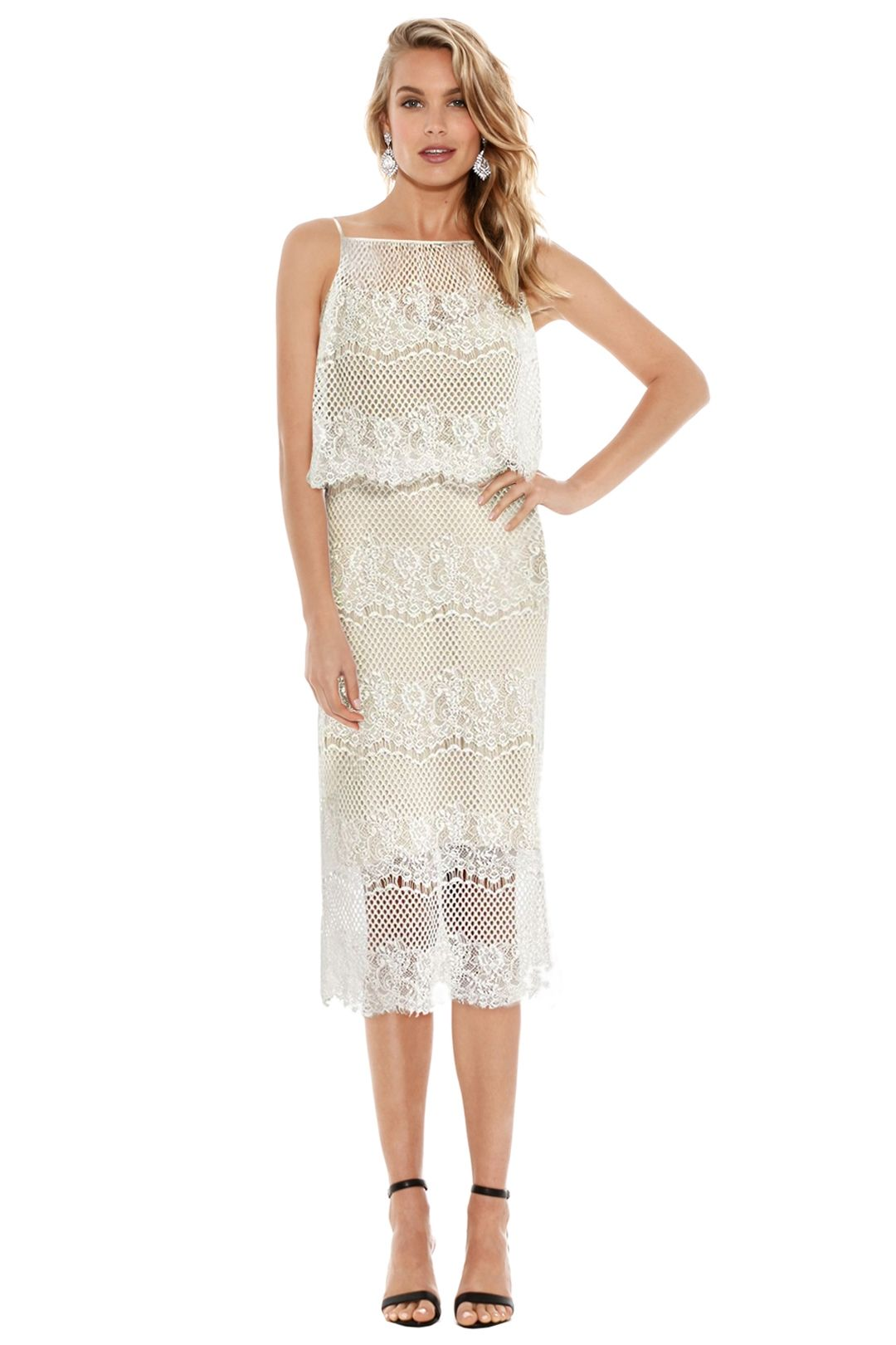 Langhem - Holly Lace Cocktail Dress - Cream - Front