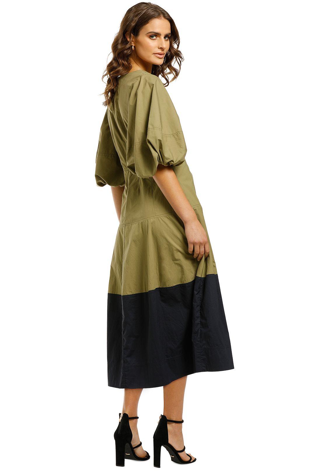 Lee-Mathews-Elsie-Balloon-Sleeve-Dress-Khaki-Back