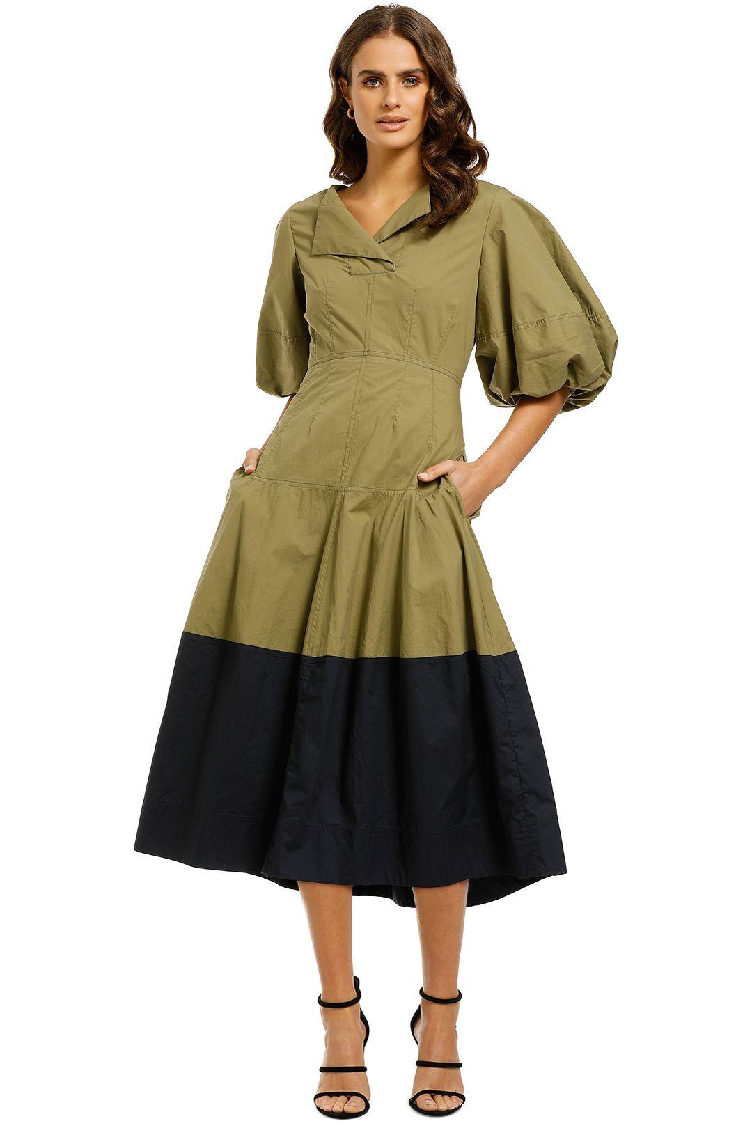 Lee-Mathews-Elsie-Balloon-Sleeve-Dress-Khaki-Front
