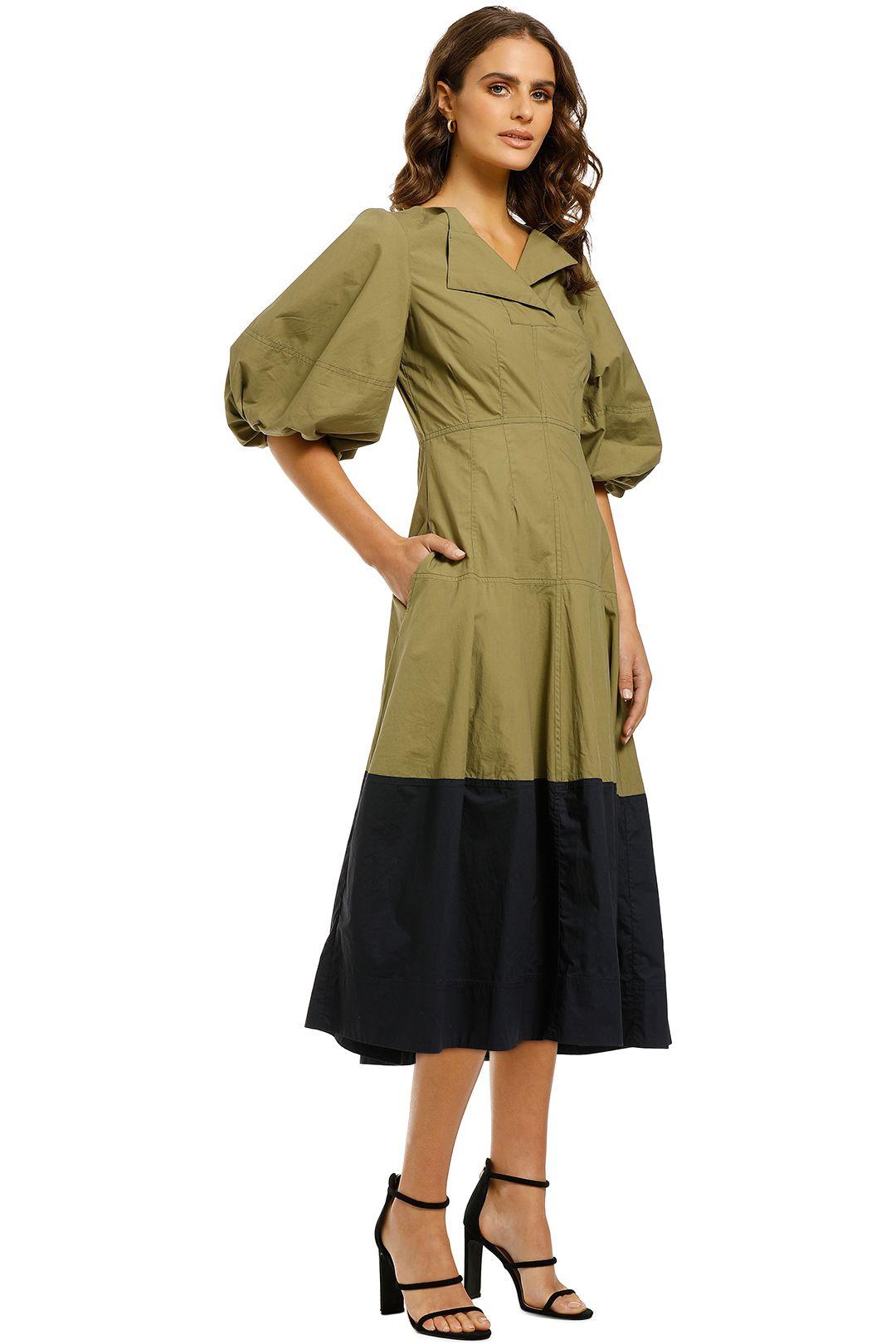 Lee-Mathews-Elsie-Balloon-Sleeve-Dress-Khaki-Side
