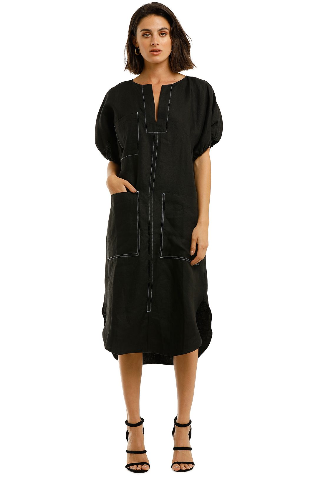 Lee-Mathews-Nico-Linen-Tee-Dress-Black-Front