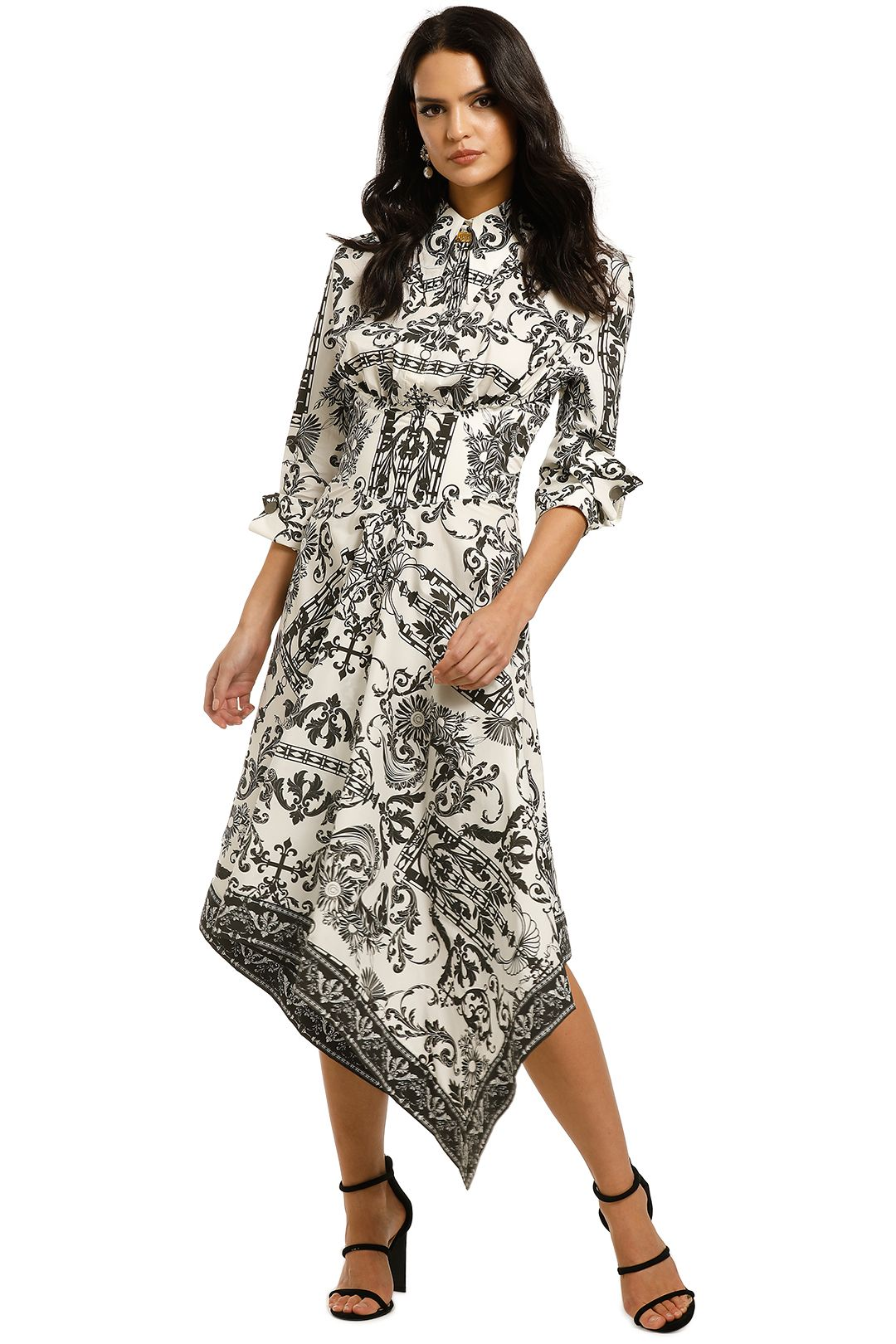 Leo-and-Lin-Baroque-Sun-Handkerchief-Dress-Black-and-White-Front
