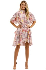 Leo-and-Lin-Euphoria-Cotton-Linen-Ruffled-Mini-Dress-Blush-Front