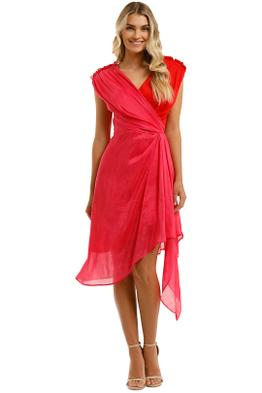 Leo-and-Lin-Passionate-Silk-Linen-Draped-Dress-Pink-Front