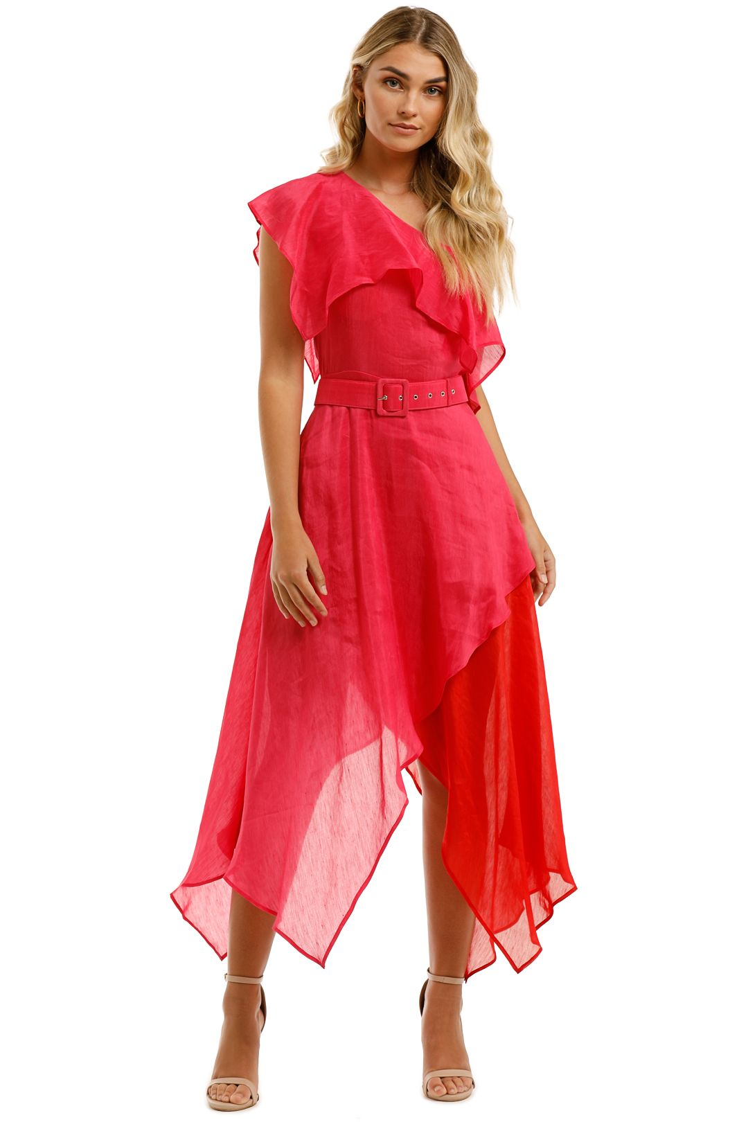 Leo-and-Lin-Passionate-Silk-Linen-Handkerchief-Dress-Pink-Front