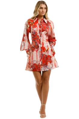 Leo-and-Lin -Blossom-Cotton-Linen-Mini-Dress-Red-Floral-Front