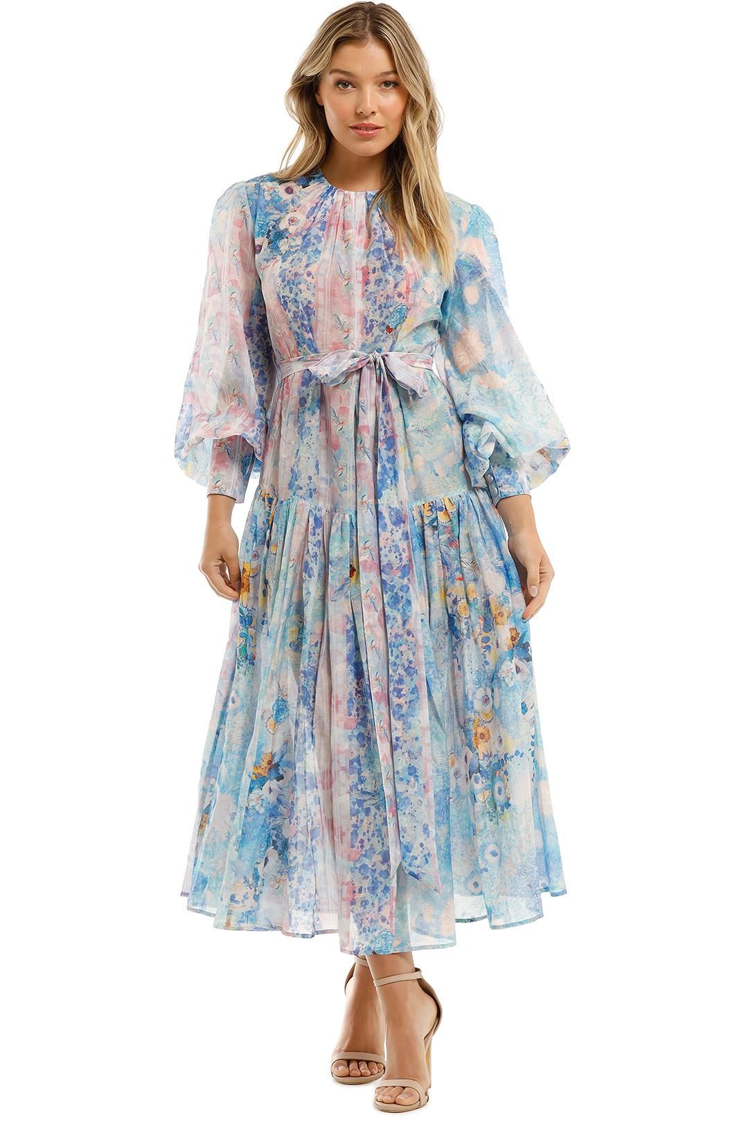 Leo and Lin Daisy Silk Linen Print Maxi Dress Belted