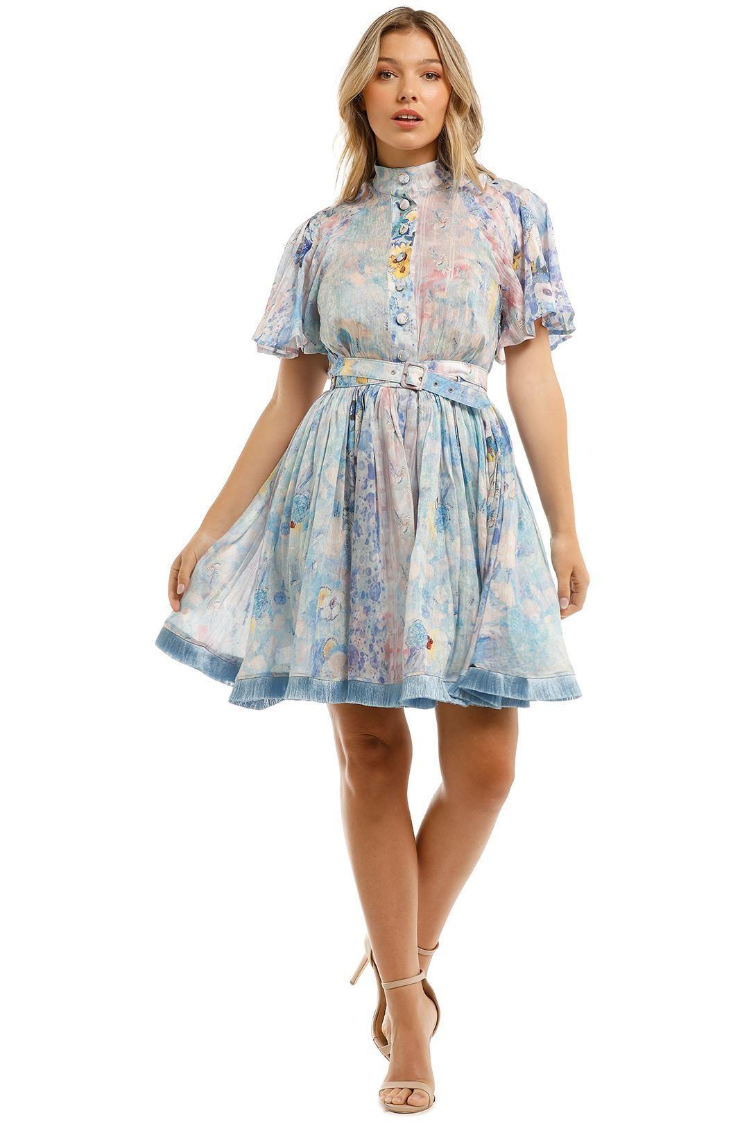 Leo and Lin Daisy Silk Linen Blue Print Mini Dress Button