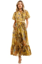 Leo and Lin Illusory Silk Cotton Dress Maxi Print