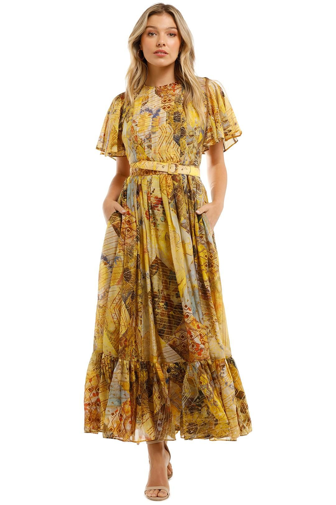 Leo and Lin Illusory Silk Cotton Dress Maxi Print