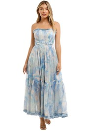 Leo and Lin Oceania Silk Linen Strapless Maxi Dress