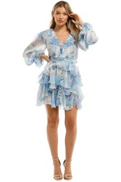 Leo and Lin Oceania Silk Ruffled Mini Dress Blue V Neck