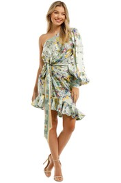 Leo and Lin Verde Silk Knotted Mini Dress Print