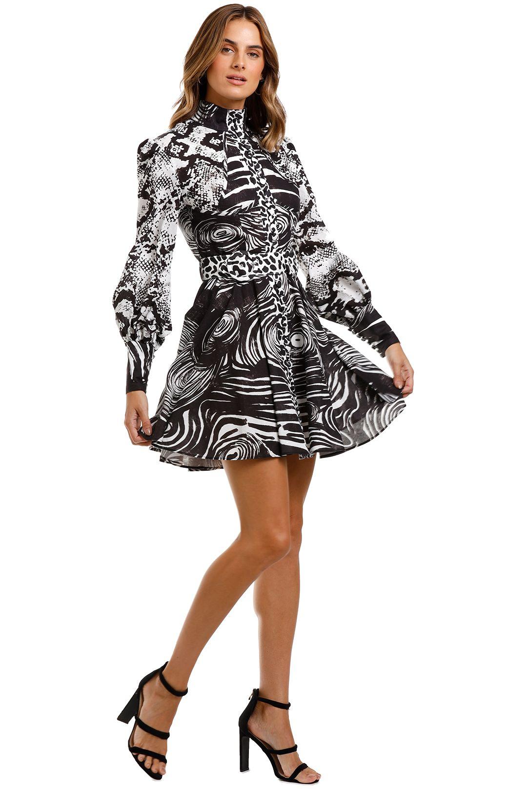 LEO & LIN Animalia Night Short Dress Black High Neck