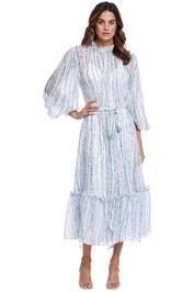 LEO LIN Azul Silk Pleated Dress Azul Blue print