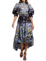 LEO & LIN Flower Garden Cotton Linen Dress Navy