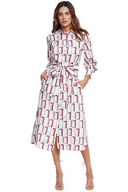 LEO LIN Linen Dress geo print