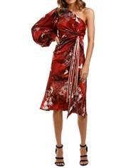 LEO & LIN Romantica Galaxy Silk Knotted Dress Red