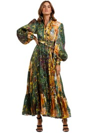 LEO & LIN The Kiss Dress Green maxi print