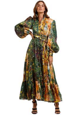 LEO & LIN The Kiss Dress Green maxi print