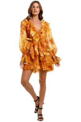 LEO & LIN The Kiss Ruffle Dress Yellow long sleeve