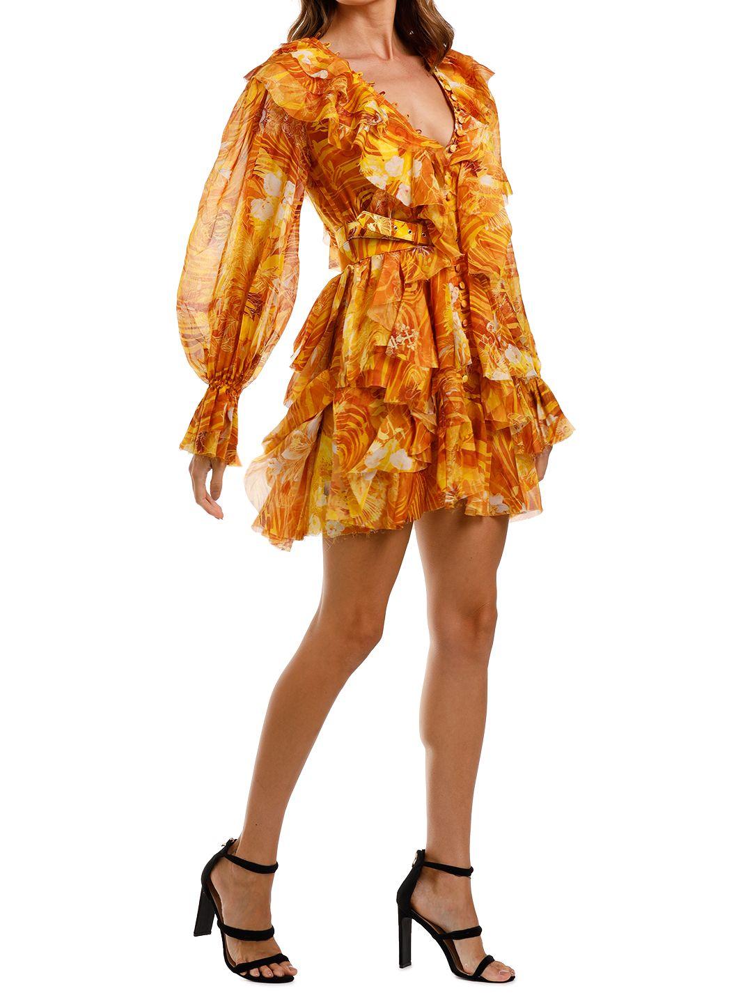 LEO & LIN The Kiss Ruffle Dress Yellow mini v neck