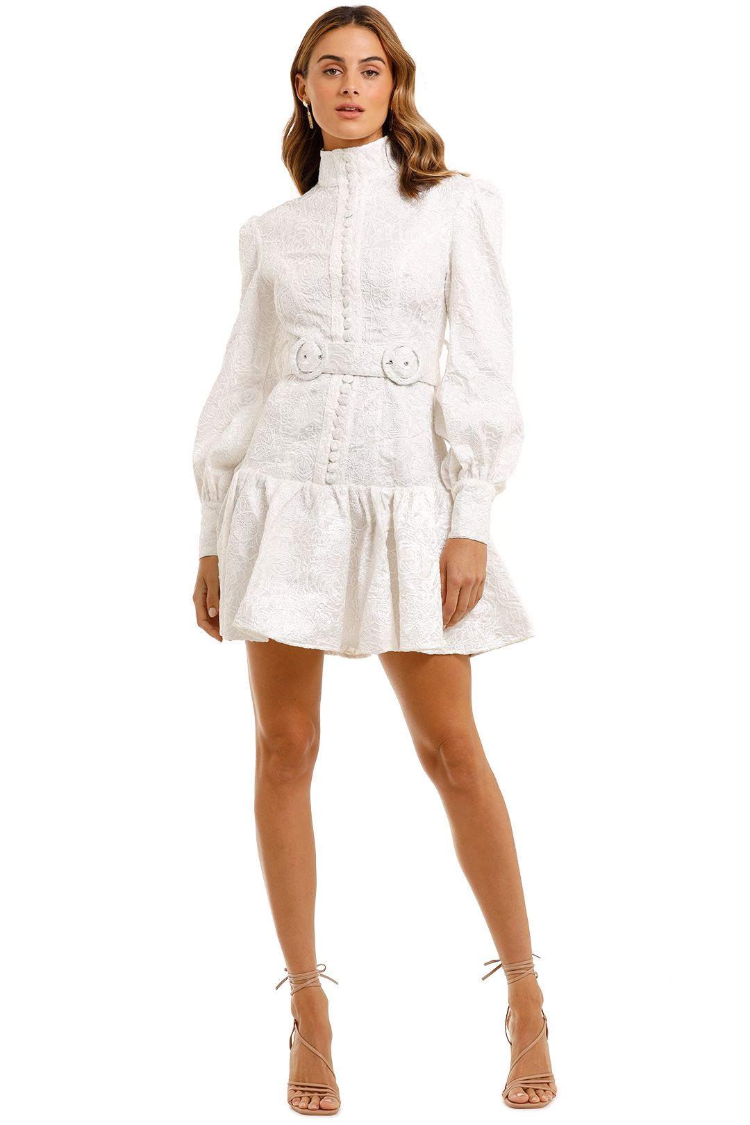 LEO & LIN Transcendence Rose Lace Short Dress White