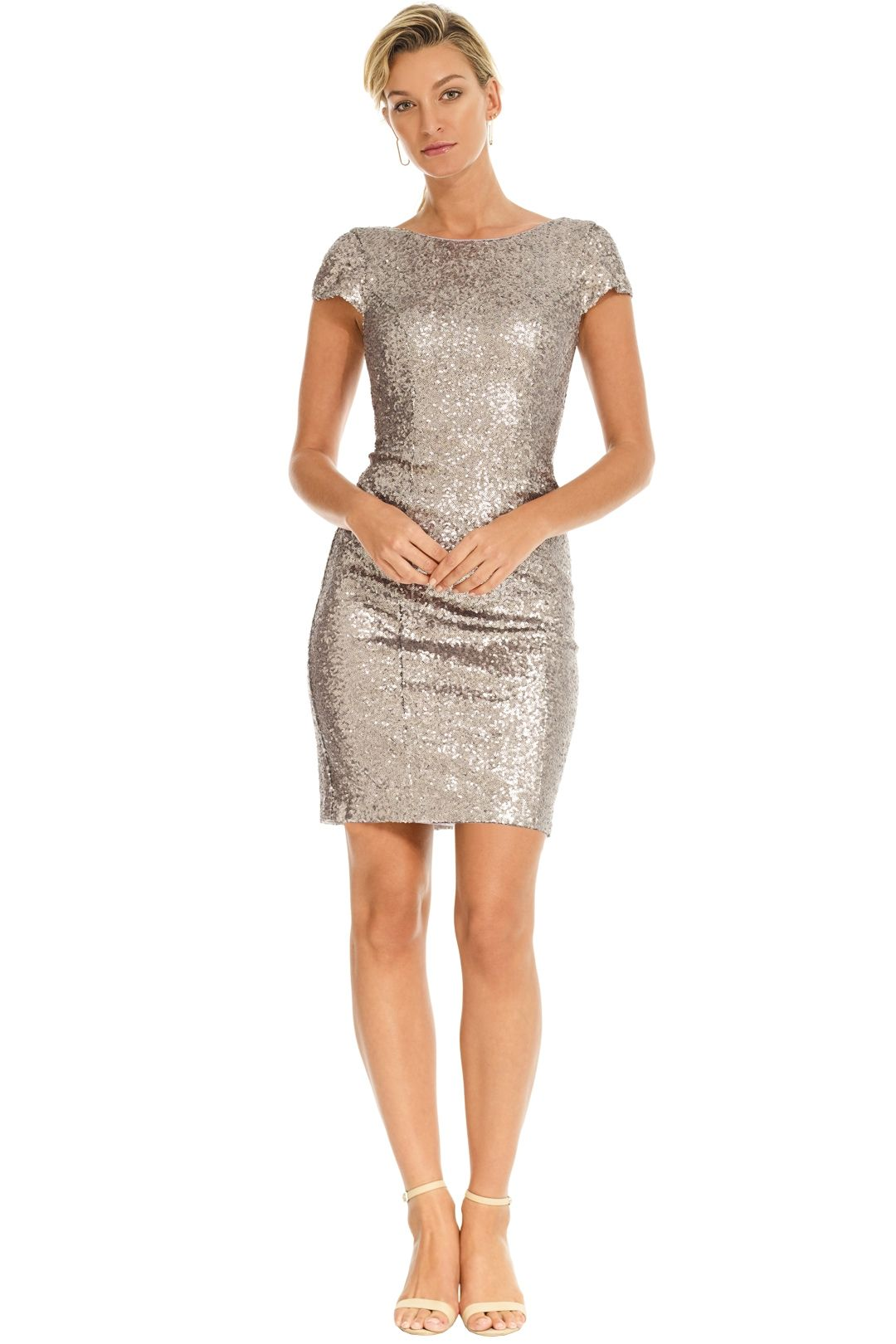 Les Demoiselle - Amara Sequin Dress - Silver - Front