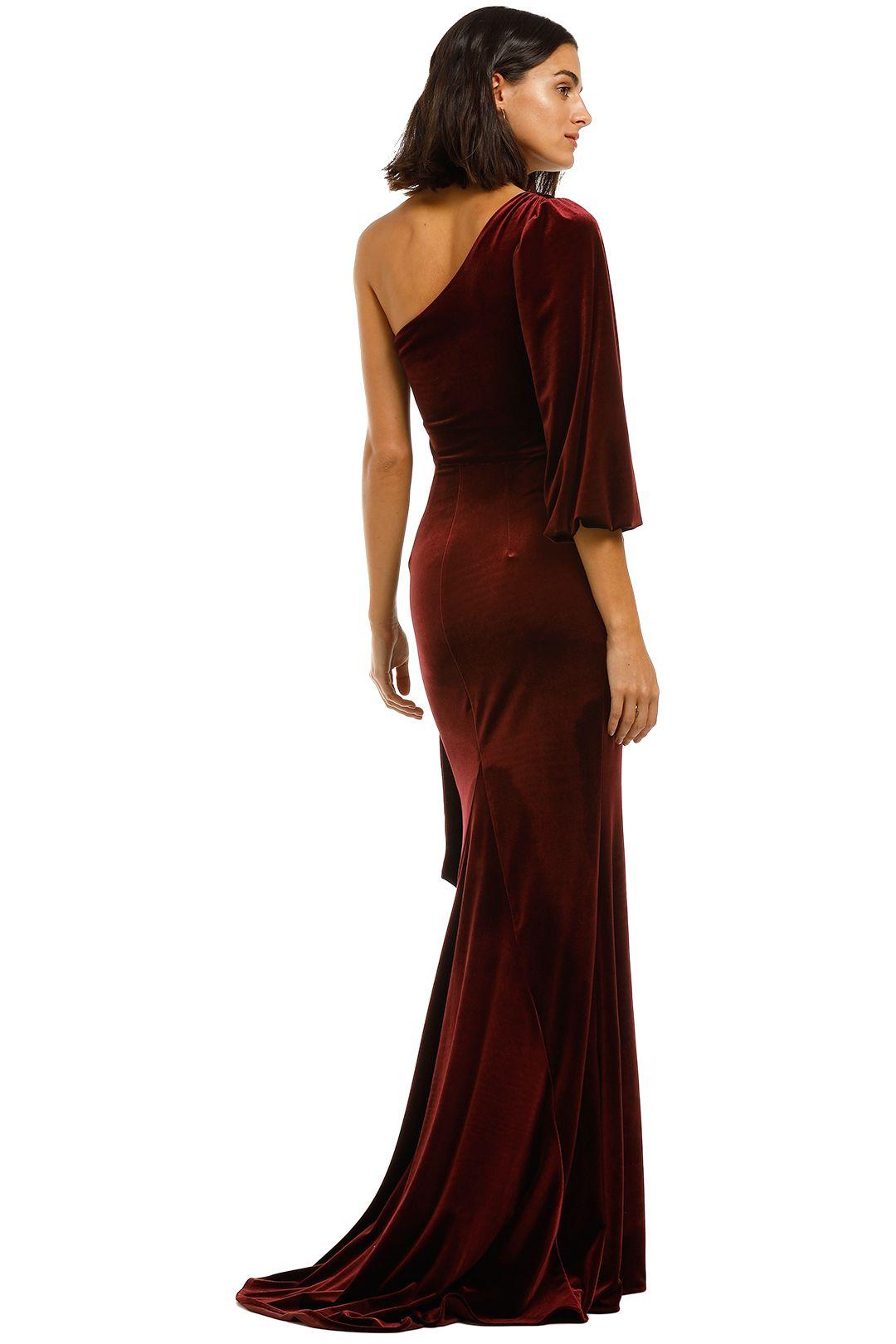 Love-Honor-Rosalia-Velvet-Gown-Wine-BAck
