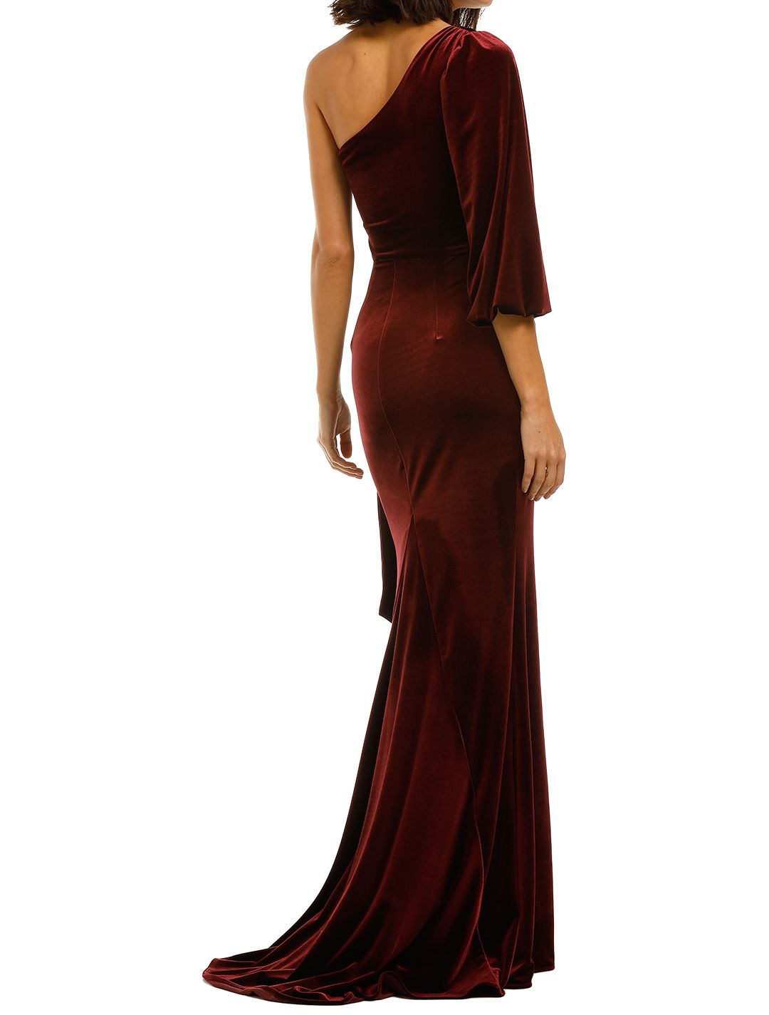 Love-Honor-Rosalia-Velvet-Gown-Wine-BAck