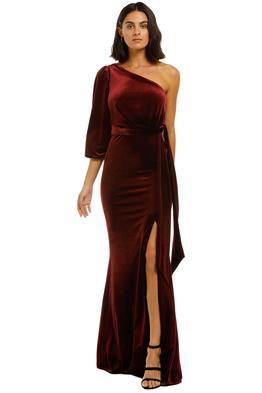 Love-Honor-Rosalia-Velvet-Gown-Wine-Front