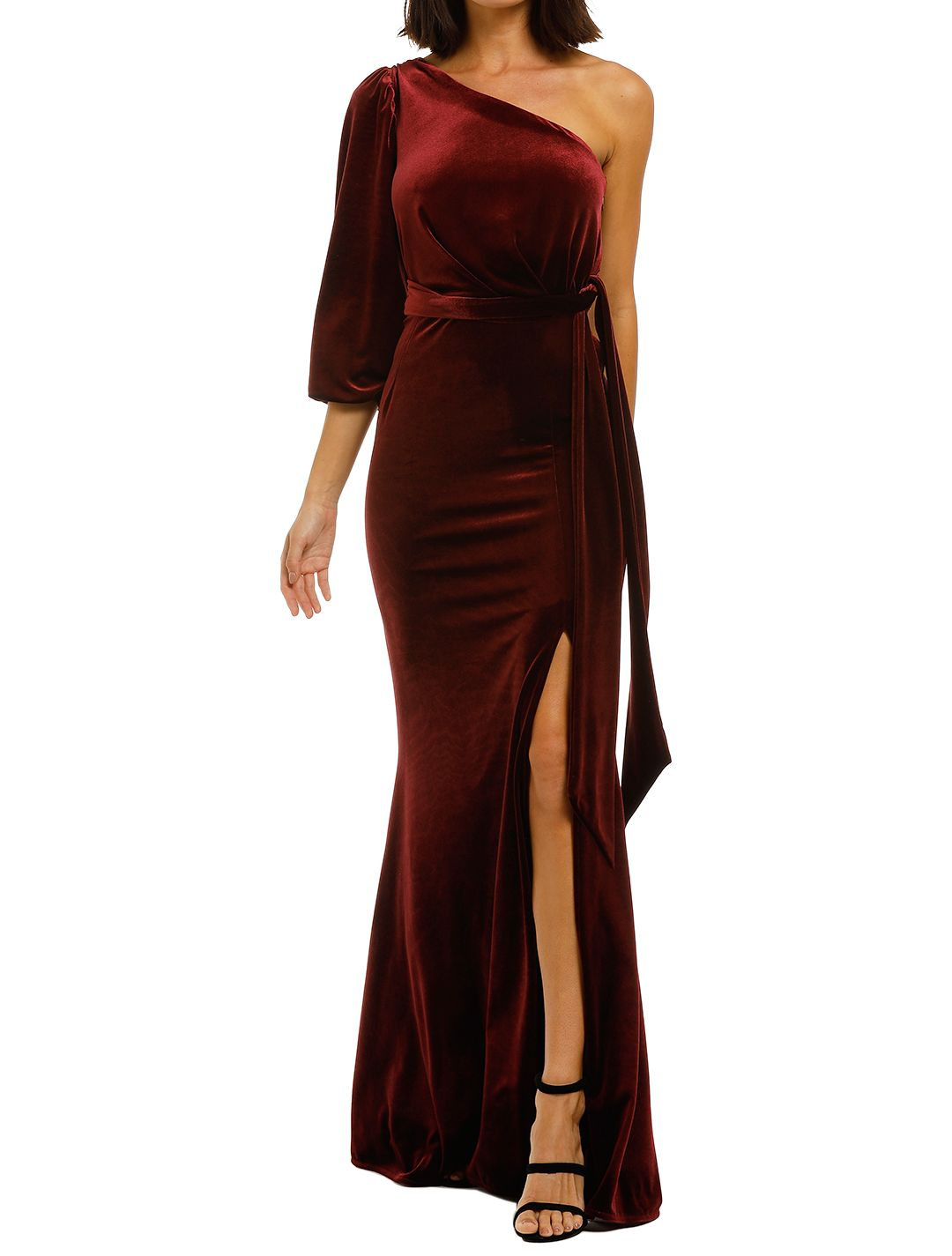 Love-Honor-Rosalia-Velvet-Gown-Wine-Front