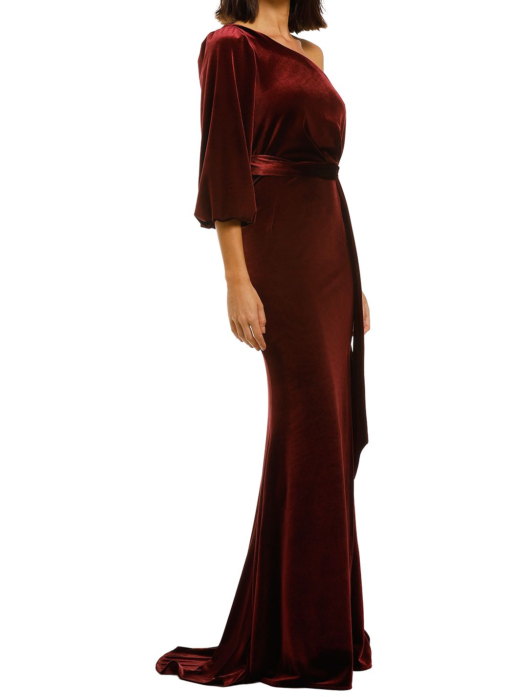 Love-Honor-Rosalia-Velvet-Gown-Wine-Side