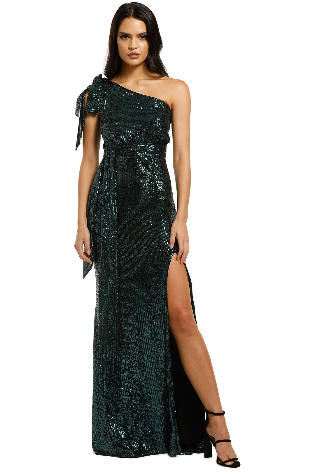 Love-Honor-Scala-Sequin-Gown-Emerald-Front