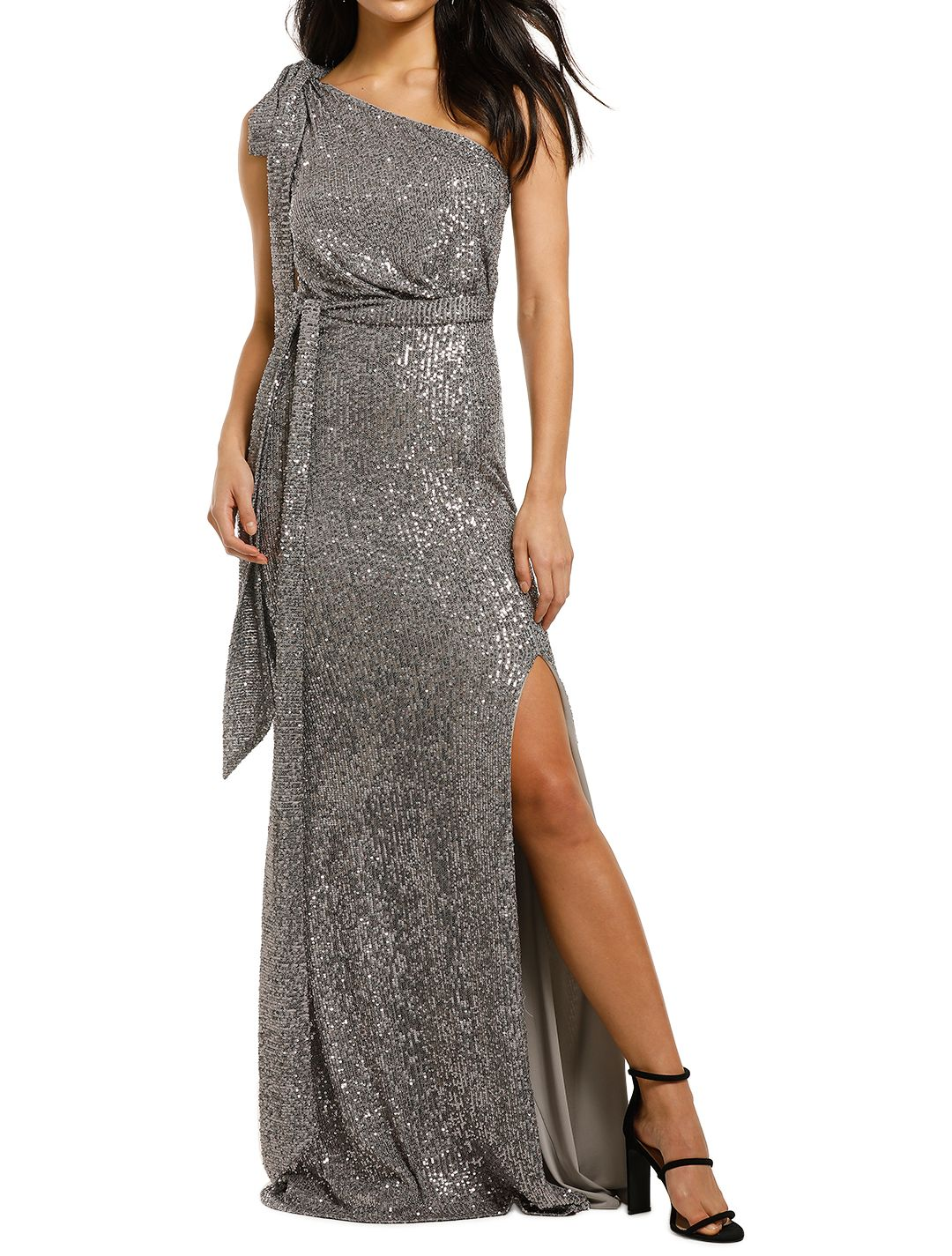 Love-Honor-Scala-Sequin-Gown-Pewter-Front