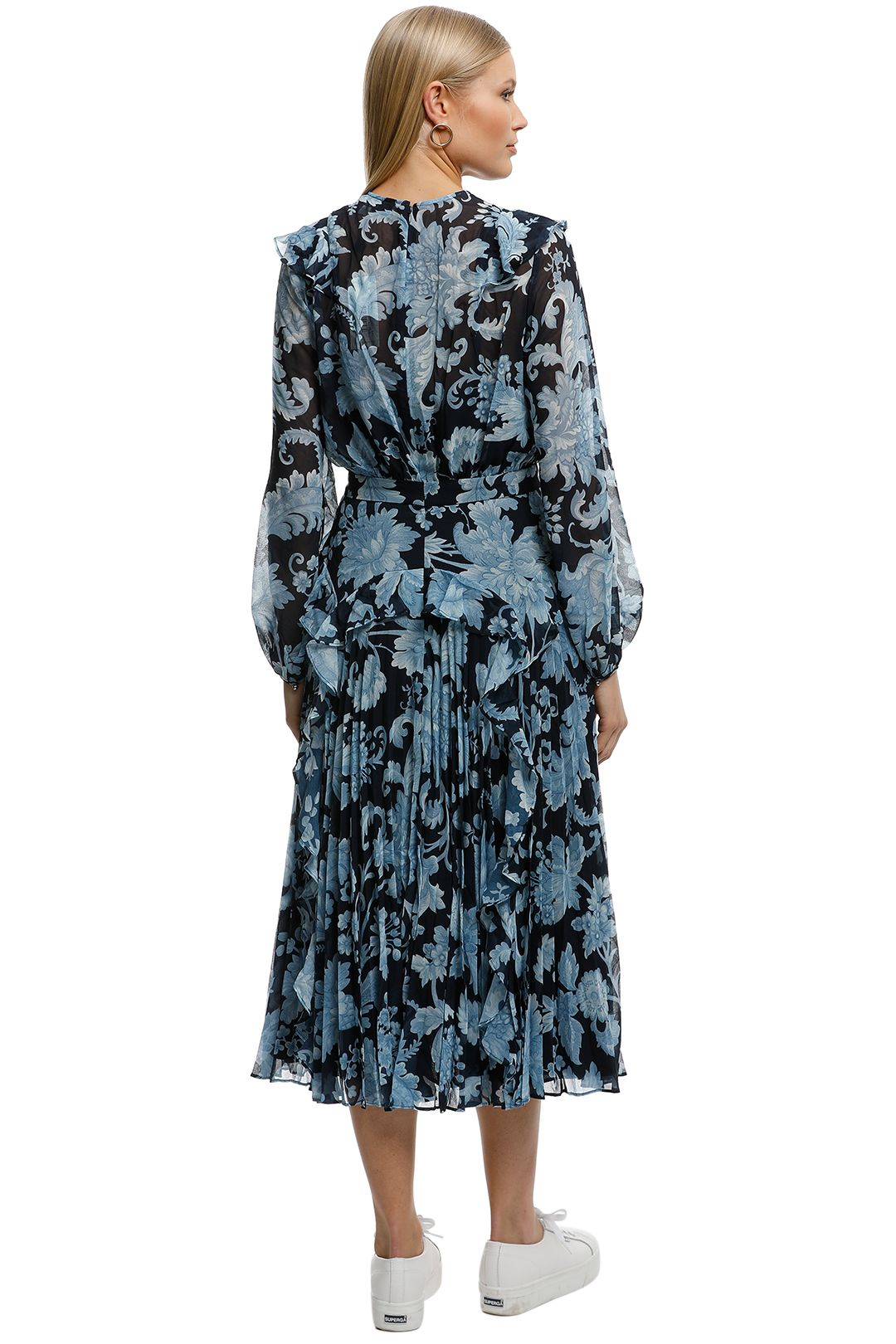 Lover-Florence Pleat Midi Dress-Navy-Back