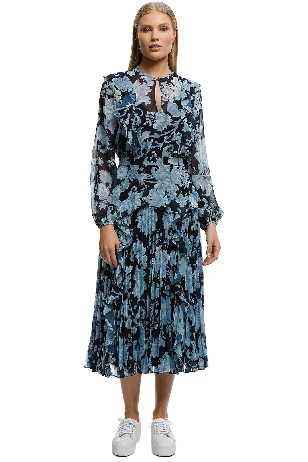 Lover-Florence Pleat Midi Dress-Navy-Front