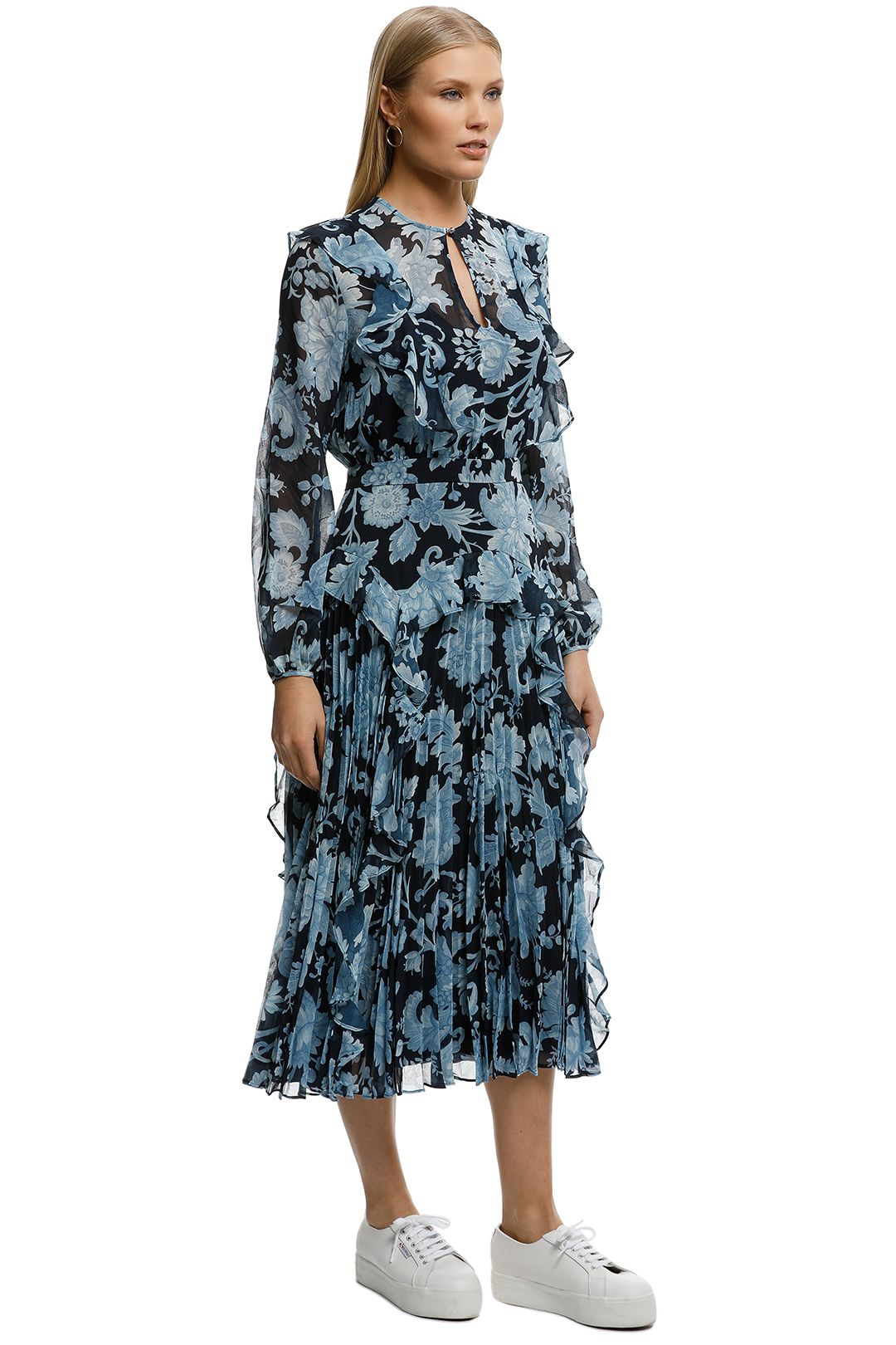 Lover-Florence Pleat Midi Dress-Navy-Side