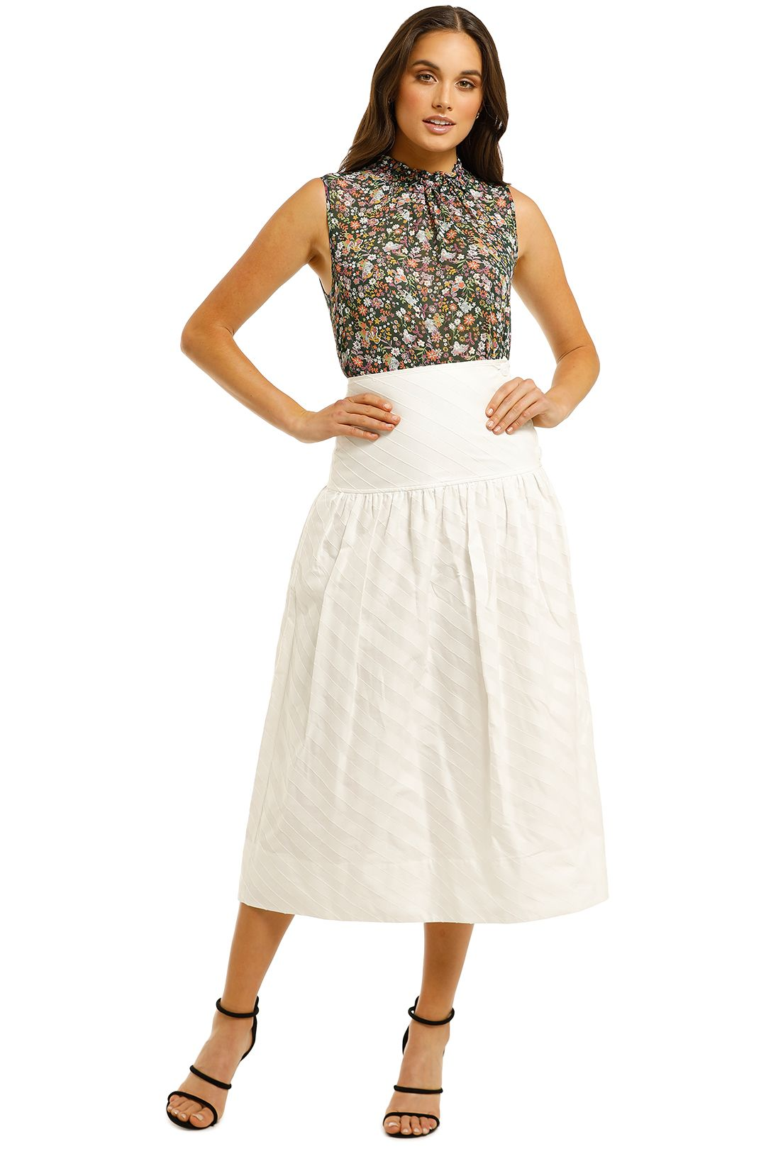 Lover-Lotus-Midi-Skirt-White-Front